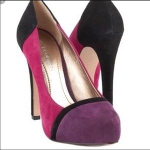 BCBG Purple Color Block Heels